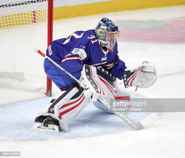 Joseph Woll of United States defends his net against Sweden during the first period of play in the IIHF World Junior Championships Semifinal game at...
