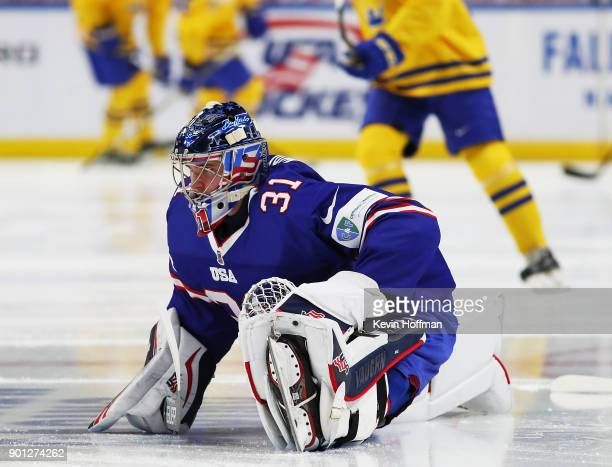 Joseph Woll of United States stretches before the game against Sweden during the IIHF World Junior Championship at KeyBank Center on January 4 2018...