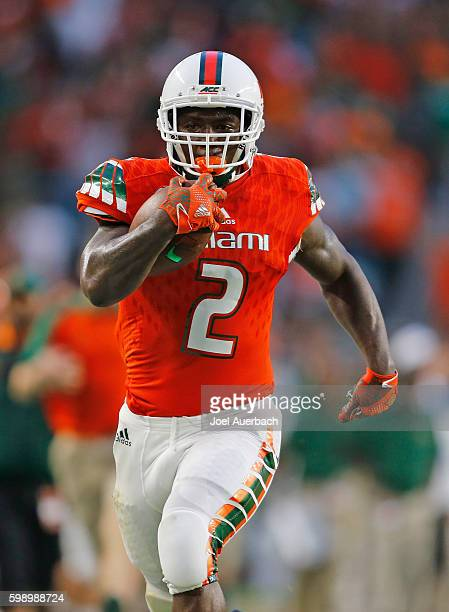 Joseph Yearby of the Miami Hurricanes runs for a second quarter touchdown against the Florida AM Rattlers on September 3 2016 at Hard Rock Stadium in...