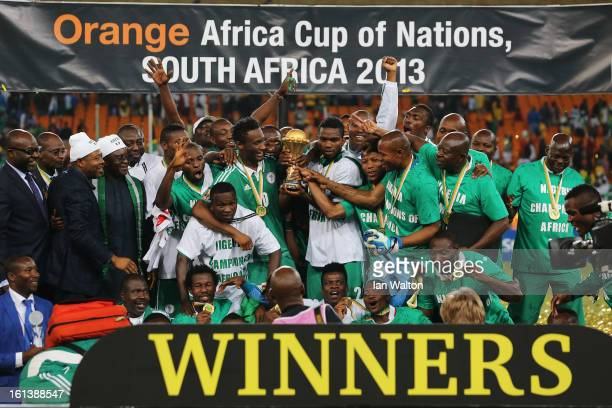 Joseph Yobo and team mates celebrate with the trophy after winning the 2013 Africa Cup of Nations Final match between Nigeria and Burkina at FNB...