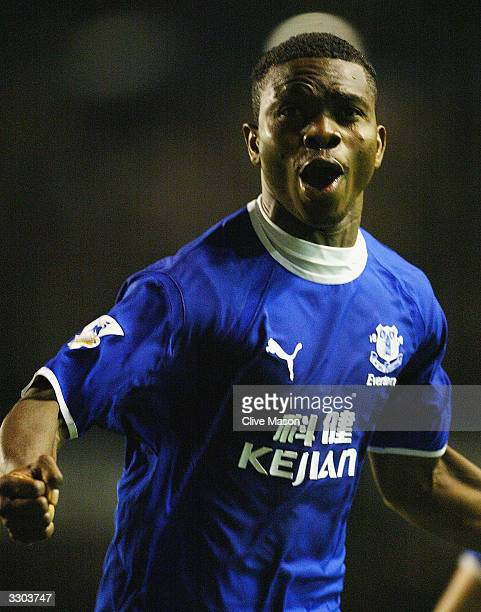 Joseph Yobo of Everton celebrates scoring during the FA Barclaycard Premiership match between Everton and Tottenham Hotspur at Goodison Park on April...
