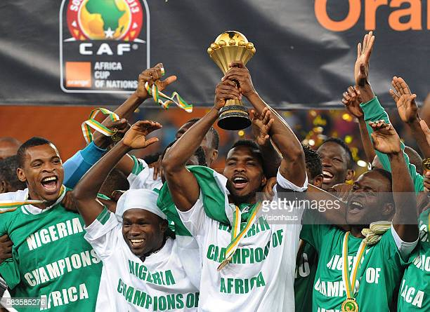 Joseph Yobo of Nigeria lifts the trophy after his team win the 2013 African Cup of Nations Final match between Nigeria and Burkina Faso at the...
