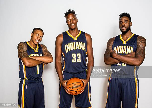 Joseph Young, Myles Turner and Rakeem Christmas of the Indiana Pacers poses for a portrait during the 2015 NBA rookie photo shoot on August 8, 2015...