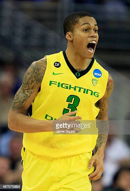 Joseph Young of the Oregon Ducks reacts in the first half against the Oklahoma State Cowboys during the second round of the 2015 NCAA Men's...