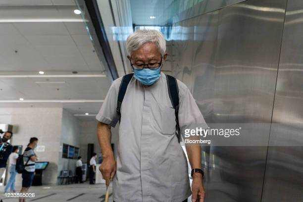 Joseph Zen, cardinal of the Holy Roman Church, arrives at the West Kowloon Magistrates' Courts for a hearing in Hong Kong, China, on Thursday, July...