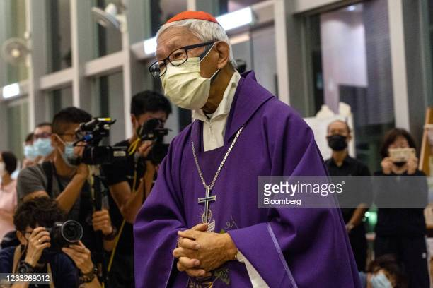 Joseph Zen, cardinal of the Holy Roman Church, arrives for a church service at St. Andrew's Parish in Hong Kong, China, on Friday, June 4, 2021. Hong...