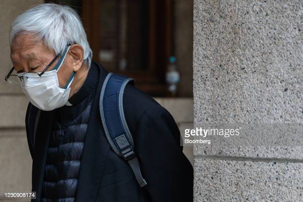 Joseph Zen, cardinal of the Holy Roman Church, leaves the Court of Final Appeal during a break in Next Digital Ltd. Founder Jimmy Lai's bail hearing...