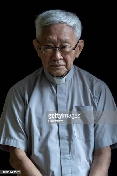 Joseph Zen, cardinal of the Holy Roman Church, poses for a photograph in Hong Kong, China, on Saturday, Aug. 18, 2018. Zen-- the retired but still...