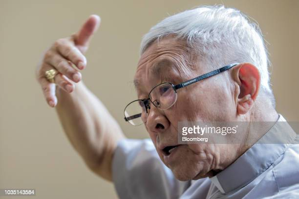 Joseph Zen cardinal of the Holy Roman Church speaks during an interview in Hong Kong China on Saturday Aug 18 2018 Zen  the retired but still...