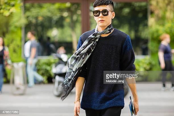 Joseph Zen wears Issey Miyake on June 25, 2015 in Paris, France.