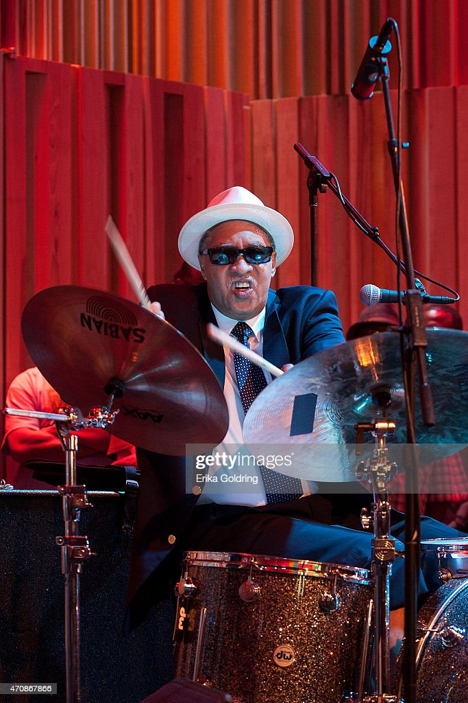 Joseph 'Zigaboo' Modeliste of the original The Meters performs during the Jazz Fest Postal Cachet unveiling at George and Joyce Wein Jazz & Heritage Center on April 23, 2015 in New Orleans, Louisiana.