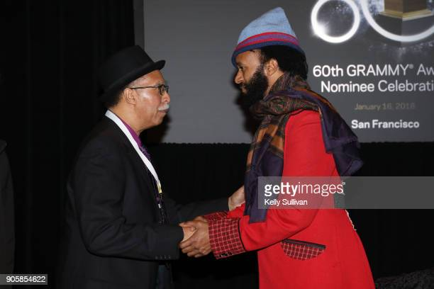 Joseph 'Zigaboo' Modeliste shakes hands with Fantastic Negrito onstage at the San Francisco 60th GRAMMY Award Nominee Celebration on January 16 2018...