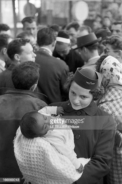 Josephine Baker Adopts A Tenth Child En France le 25 avril 1959 dans un aéroport une hôtesse de l'air tient dans ses bras Mara le 10e enfant adopté...