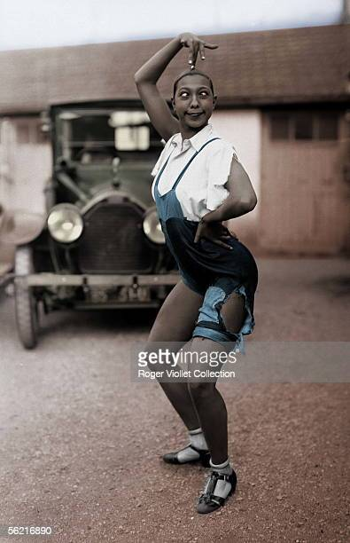 Josephine Baker American artist of music hall 1926 Colourized photo