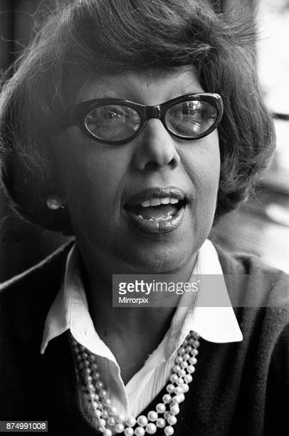 Josephine Baker Americanborn French dancer singer and actress seen here giving a press conference shortly after arriving at London's Heathrow Airport...