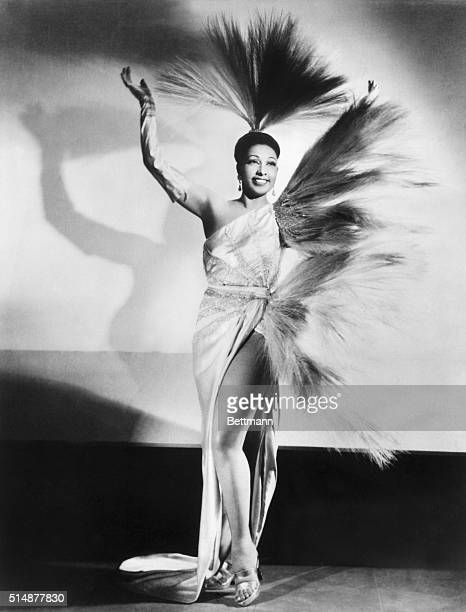 Josephine Baker in feathered gown