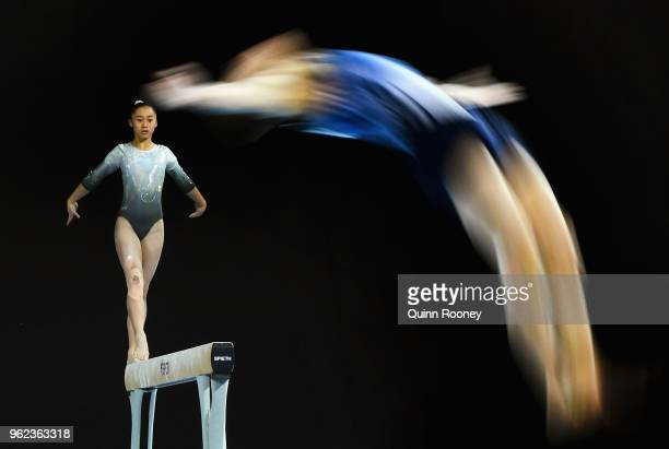Josephine Chao of New Zealand competes on the Beam as Dylan Chapman of Victoria competes on the floor during the 2018 Australian Gymnastics...
