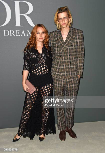 Josephine de La Baume and Bunny Kinney attend a private view of the 'Christian Dior Designer of Dreams' exhibition at The VA on January 30 2019 in...