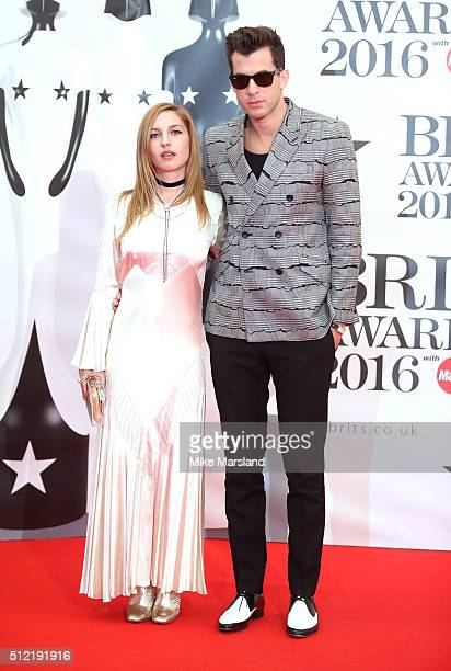 Josephine de La Baume and Mark Ronson attend the BRIT Awards 2016 at The O2 Arena on February 24 2016 in London England