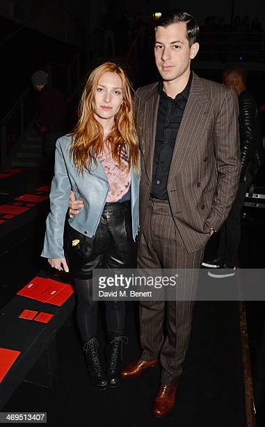 Josephine de la Baume and Mark Ronson attend the Hunter Original AW 2014 Show at Ambika P3 Gallery University of Westminster on February 15 2014 in...
