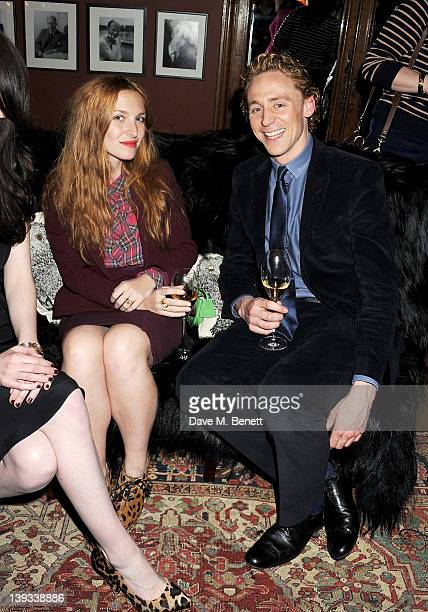 Josephine de la Baume and Tom Hiddleston attend a dinner following the Mulberry Autumn/Winter 2012 show during London Fashion Week at The Savile Club...