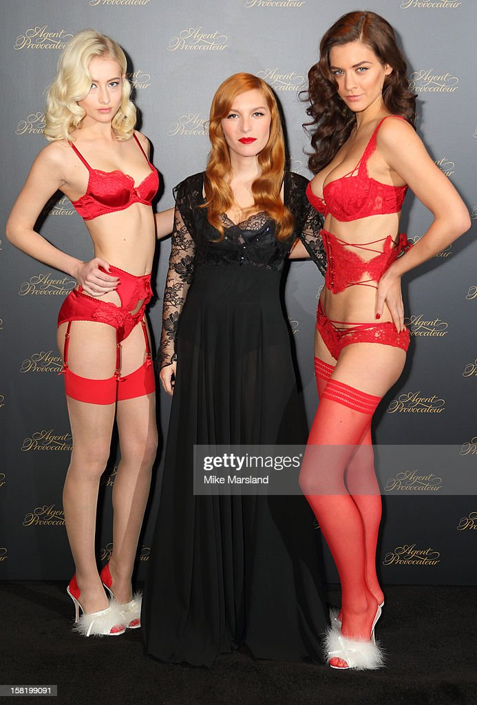 Josephine De La Baume (C) attends a photocall to open the new Agent Provocateur store on Grosvenor Street on December 11, 2012 in London, England.