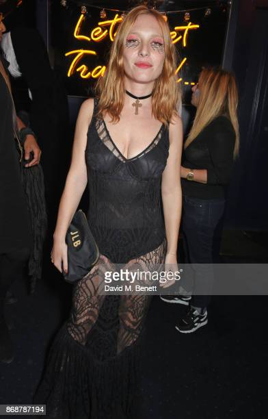 Josephine de La Baume attends Fran Cutler's Halloween Freak Show at Tramp on October 31 2017 in London England