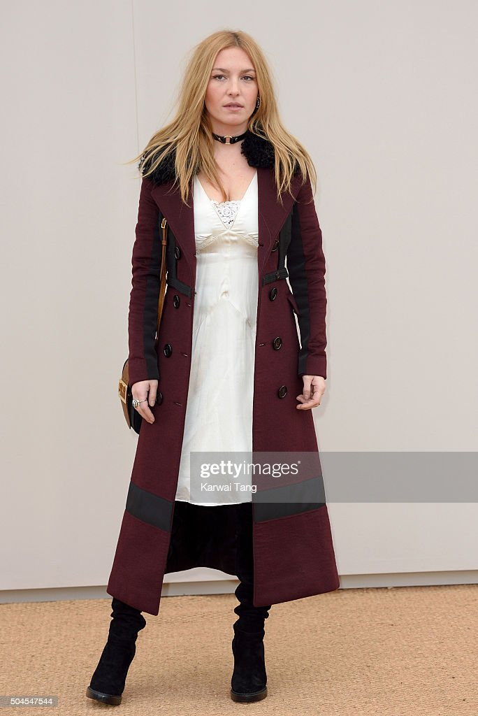 Josephine de La Baume attends the Burberry show during The London Collections Men AW16 at Kensington Gardens on January 11, 2016 in London, England.