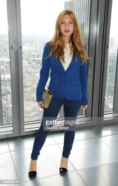 Josephine de la Baume attends the front row at the Whistles show during London Fashion Week SS14 at Heron Tower on September 14 2013 in London England