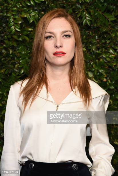 Josephine de La Baume wearing CHANEL attends Charles Finch and Chanel PreOscar Awards Dinner at Madeo in Beverly Hills on March 3 2018 in Beverly...