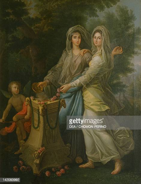 Josephine de Lorraine with her sister at the altar of friendship by Lorenzo Pecheux Stupinigi Royal Palace in Turin