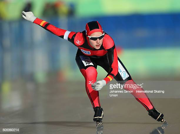 Josephine Heimerl of Germany competes in the ladies 1000 m heats during day 2 of ISU speed skating junior world cup at ice rink Pine stadium on...