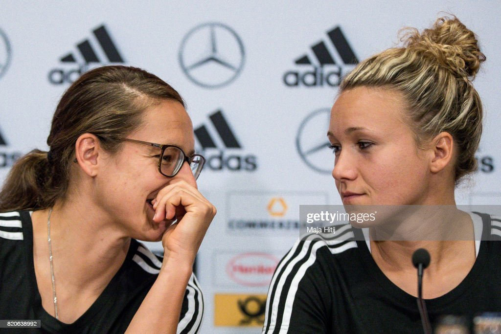 'S-HERTOGENBOSCH, NETHERLANDS - JULY 22: Josephine Henning (R) and Babett Peter talk during the Germany Women's Press Conference on July 22, 2017 in 's-Hertogenbosch, Netherlands.