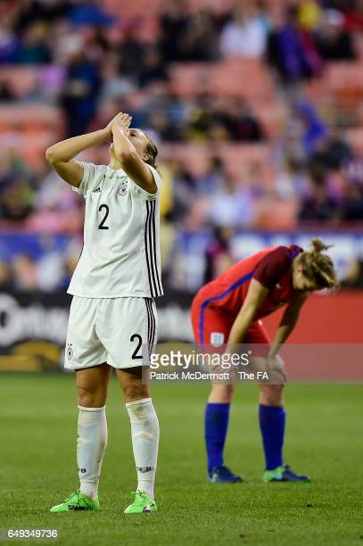 Josephine Henning of Germany celebrates after Germany defeated England 1-0 during the 2017 SheBelieves Cup at RFK Stadium on March 7, 2017 in...