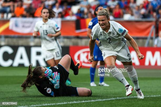 Josephine Henning of Germany celebrates after scoring her sides first goal during the UEFA Women's Euro 2017 at Koning Willem II Stadium on July 21...