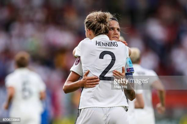 Josephine Henning of Germany celebrates with Dzsenifer Marozsan after scoring her sides first goal during the UEFA Women's Euro 2017 at Koning Willem...