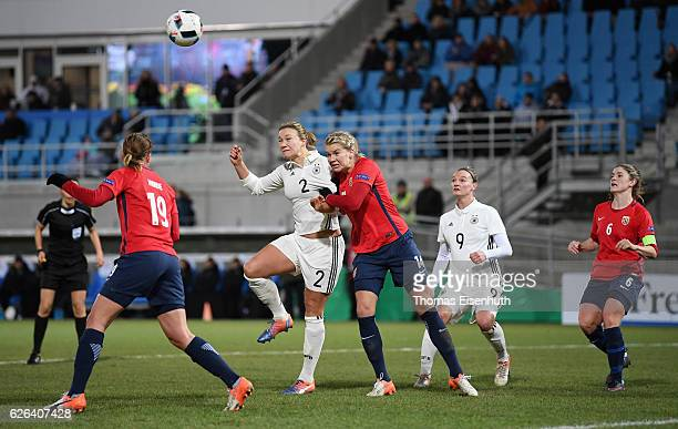 Josephine Henning of Germany scores the 11 equalizer against Ada Hegerberg of Norway during the women's international friendly match between Germany...