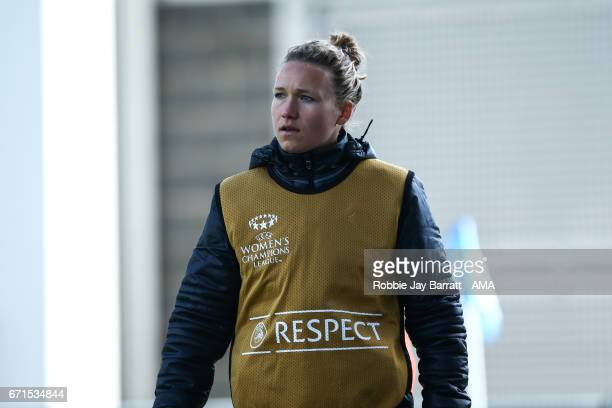 Josephine Henning of Olympique Lyonnais during the UEFA Women's Champions League semi final first leg match between Manchester City Ladies and Lyon...