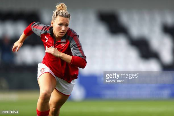 Josephine Henning warms up prior to the Women's Super League 1 match between Arsenal and Bristol City at Meadow Park Boreham Wood on October 8 2017...