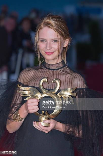 Josephine Japy awarded Best Female Newcomer during the closing ceremony of the 29th Cabourg Film Festival on June 13 2015 in Cabourg France