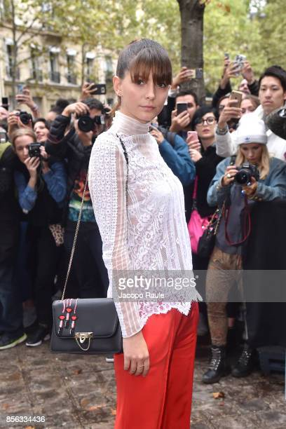 Josephine Japy is seen arrivinga at Valentino show as part of the Paris Fashion Week Womenswear Spring/Summer 2018 on October 1 2017 in Paris France