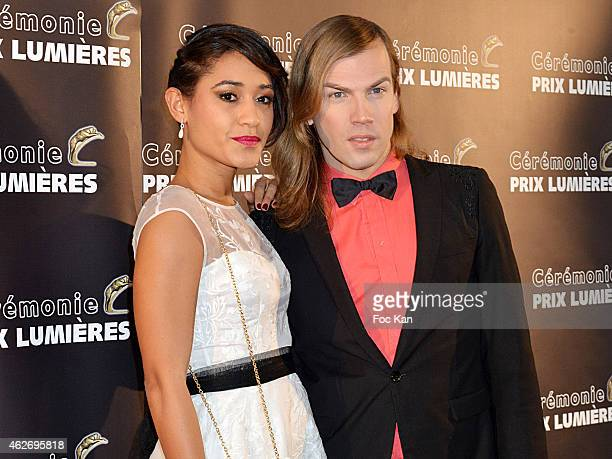 Josephine Jobert and Christophe Guillarme attend 'Les Lumieres 2015' Arrivals At Espace Pierre Cardin on February 2, 2015 in Paris, France.