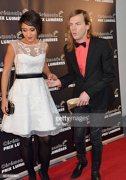 Josephine Jobert and Christophe Guillarme attend 'Les Lumieres 2015' Arrivals At Espace Pierre Cardin on February 2 2015 in Paris France