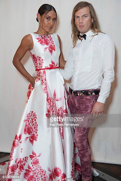 Josephine Jobert and Christophe Guillarme pose during the Christophe Guillarme show as part of the Paris Fashion Week Womenswear Spring/Summer 2017...