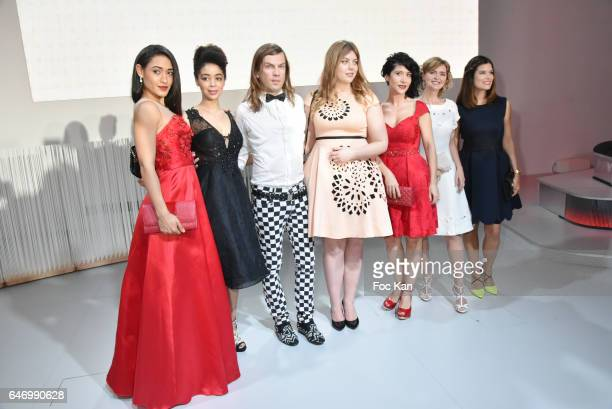 Josephine Jobert, Aurelie Konate, Heloise Martin, Christophe Guillarme, Fabienne Carat, Annabelle Milot and Flavie Pean attend the Christophe...