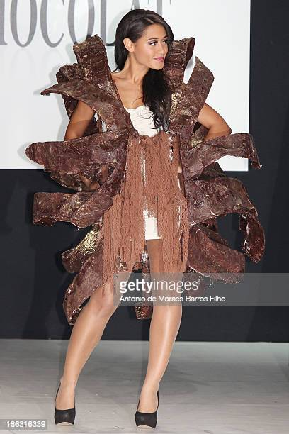 Josephine Jobert dressed by Stephane Martello and Bruno Rouly attends the Salon Du Chocolat 2014 - Fashion Chocolate Show at Parc des Expositions...