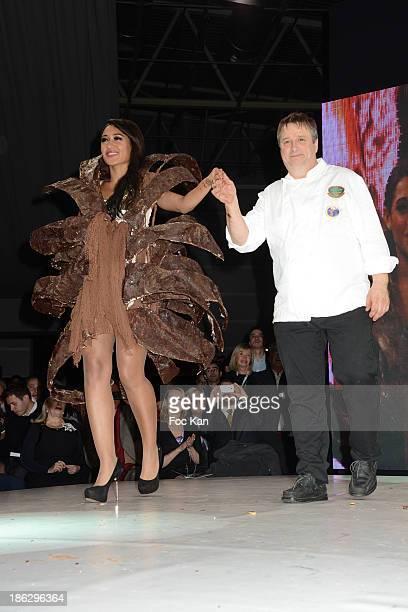 Josephine Jobert dressed by Stephane Martello Bruno Rouly attend the Salon Du Chocolat 2014 Fashion Chocolate Show at Parc des Expositions Porte de...
