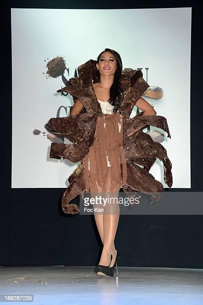 Josephine Jobert dressed by Stephane Martello Bruno Rouly attends the Salon Du Chocolat 2014 Fashion Chocolate Show at Parc des Expositions Porte de...