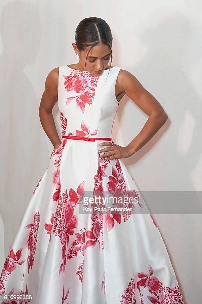 Josephine Jobert poses during the Christophe Guillarme show as part of the Paris Fashion Week Womenswear Spring/Summer 2017 on September 28, 2016 in...