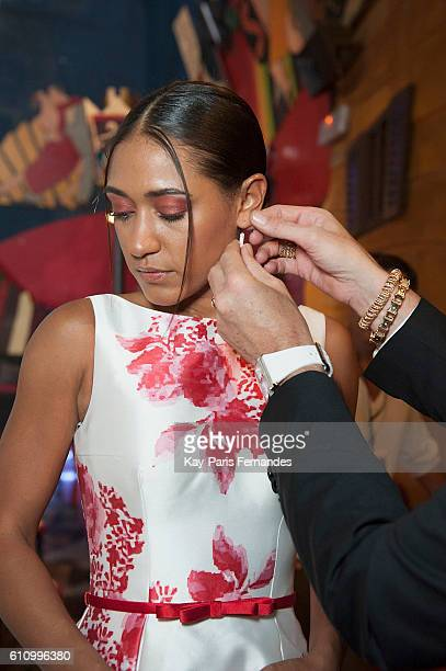 Josephine Jobert prepares during the Christophe Guillarme show as part of the Paris Fashion Week Womenswear Spring/Summer 2017 on September 28, 2016...